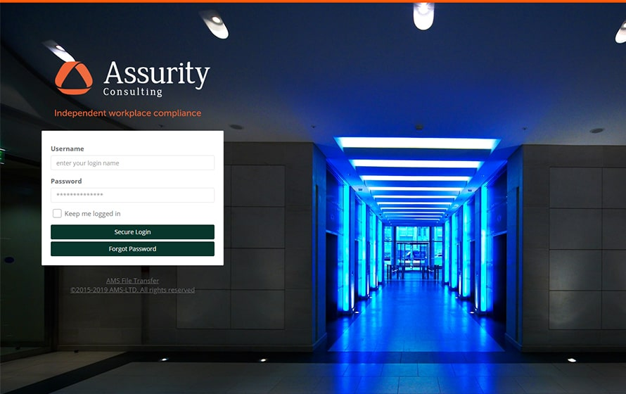 Example Branded Login Screen on AMS